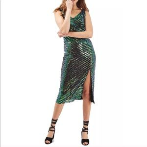 Topshop Holographic Sequin Midi Dress NWT size 2